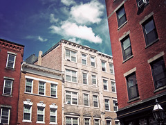 day four /365 (icolorinthelines) Tags: blue red sky white building brick boston ma north end