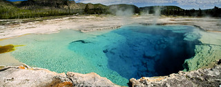 Panorama of Sapphire Pool at Yellowstone National Park