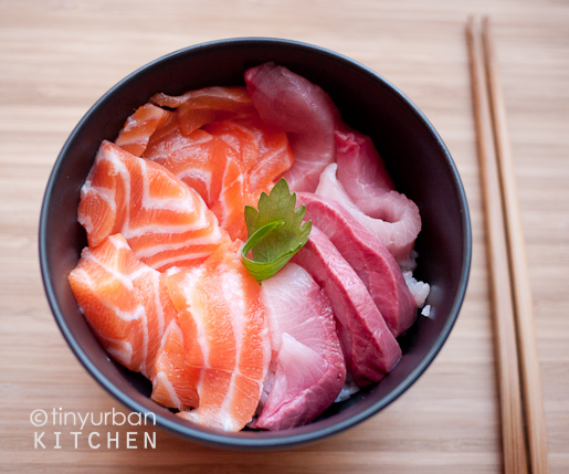 Homemade Chirashi (salmon, yellowtail)