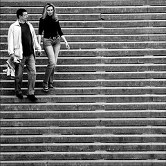Sophisticated Lady (fifichat1 - BOYCOTT) Tags: bw square candid stairs paris france nikond300 chaillot trocadro escaliers bestportraitsaoi elitegalleryaoi theworldwelivein couple sophisticatedlady woman saariysqualitypictures blackwhitephotos tqm street rue people squarepicture allrightsreserved flickrstruereflection1 flickrstruereflection2 formatcarr copyright fifichat1 tousdroitsrservs lightroomps greyscale humorous grayscale blackandwhite nb streetphotography copyrightallrightsreserved classicbw squarefotografiasparaenmarcar1006