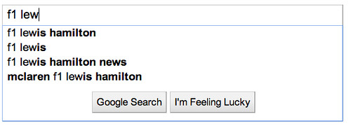 google suggest - f1 lewis hamilton