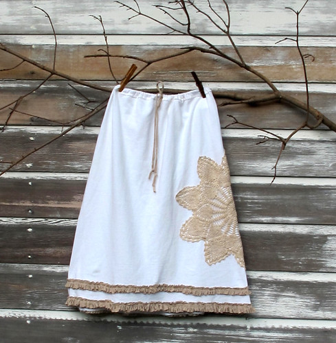 woman's skirt with vintage doily