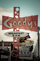 Goody's (TooMuchFire) Tags: signs losangeles neon sangabriel 1950s signage googie googiearchitecture coffeeshops neonsigns midcentury oldsigns vintagesigns sangabrielvalley canon30d goodys atomicage googiesigns oldneonsigns lightroom2