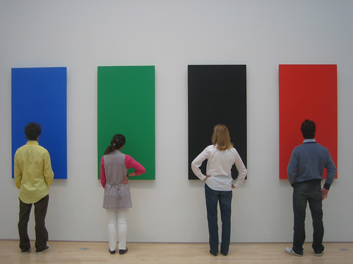 "Calder to Warhol: Introducing to Fisher Collection, SFMOMA -- Inspecting ""Blue Green Black Red"" by Ellsworth Kelly, 1996, oil on canvas _6639"