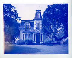 (patrickjoust) Tags: camera new blue house canada color film saint analog america project john polaroid paul focus north victorian rangefinder brunswick v automatic land instant epson 100 mansion manual 500 expired limited edition range finder
