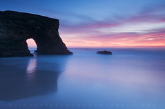 Blue - Natural Bridges State Beach, Santa Cruz, California (Jim Patterson Photography) Tags: pictures ocean california statepark longexposure travel pink blue sunset red sea sky usa santacruz seascape color reflection beach nature water yellow clouds landscape coast marine rocks colorful natural pacific cove tripod salt shoreline scenic rocky wideangle icon coastal shore lee vista bluehour iconic gitzo formations natura