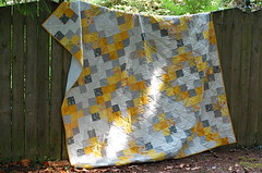 (wise craft, handmade by Blair Stocker) Tags: yellow quilt gray medallion