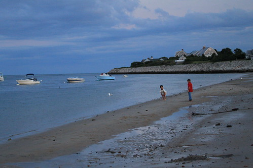 Cape Cod - Chatham Bars Inn - Boys on Shore at Dusk