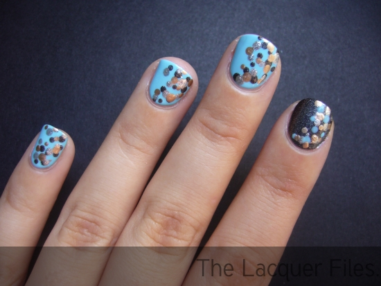 OPI What's the Cattitude, OPI Suzi Skis in the Pyrenees Suede and dottingtool dots with Orly Shine and China Glaze 2030