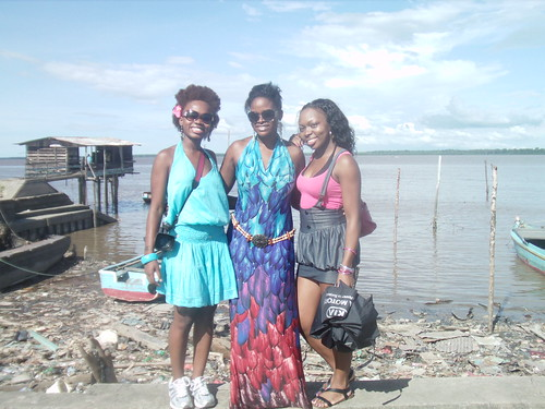 Damali, Abiola, Diana on my Birthday at the Surinam Border