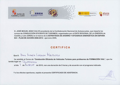 CERTIFICADO CONDUCCIÓN EFICIENTE (ANA MARÍA LOSADA MOLINERO):