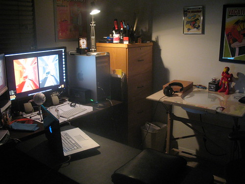 office setup at night