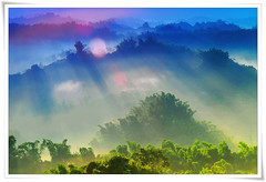 9387  -   .        - Sunrise on Tainan County . Landscape of TAIWAN (deepblue68) Tags: world life county travel trees light shadow sky sunlight mountain color nature sign clouds sunrise landscape outdoors photography photo twilight scenery asia natural image earth space explorer seasonal scenic taiwan environmental bamboo hills explore vision land environment  tainan moment formosa  scape     2010                 peterchen        apathwayhomecom deepblue68