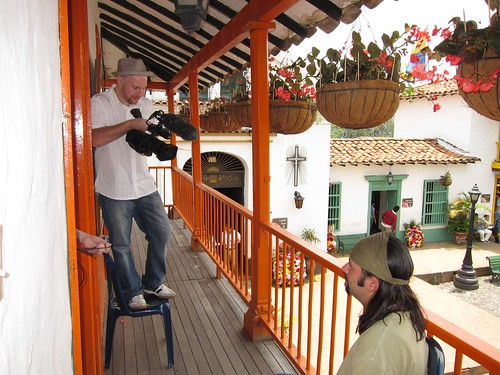 I held the video camera for Troy's interview, recorded on a balcony in the mock Antioquian village of Pueblito Paisa.