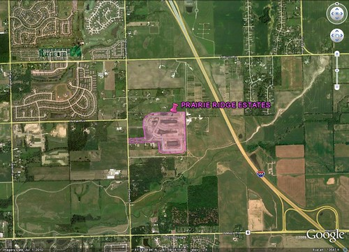 site of Prairie Ridge Estates (via Google Earth, marking by me)