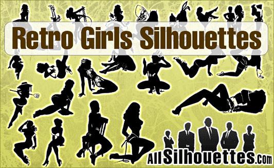 Click en la imagen para descarga Siluetas en formato vector - Mujeres retro