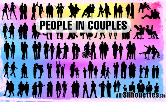 Click en la imagen para descarga 54 Siluetas en formato vector - People in couples