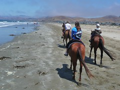 Horseback riding in Morro Bay (Libra 42) Tags: ocean california blue boy summer vacation sky people horse usa beach water girl lumix sand waves hills panasonic ourdailytopic