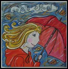 Herbstwind | What I wore today in the autumn wind (Lady in Black) Tags: herbst bild mdchen regen acryl 30x30 2010 malerei regenschirm schirm canvasboard