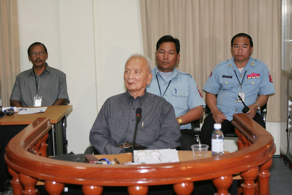 If you use this photo, please credit the photo to ECCC POOL/Heng Sinith.  Nuon Chea during a pre-trial hearing before the Extraordinary Chambers in the Courts of Cambodia on 4 Feb 2008.  Nuon Chea is believed to have been Pol Pot`s second in command and he is currently charged with genocide, crimes against humanity, grave breaches of the 1949 Geneva conventions and crimes under the 1956 Cambodian Penal Code. For more info: www.eccc.gov.kh