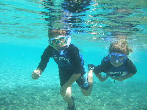 Joshua and Christopher snorkeling