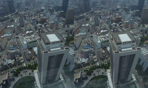 View from Umeda Sky Building, Osaka, 3D parallel view