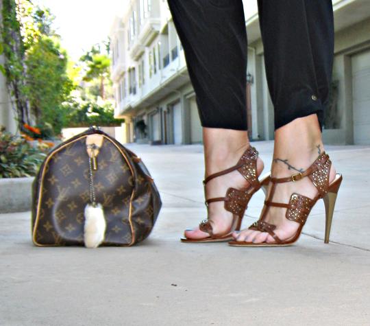 hem gems+pegged pants+Lamb Sandals+Louis Vuitton Speedy bag