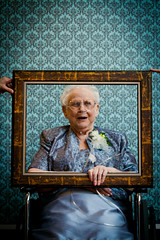 Matriarchal Love (Brandon Christopher Warren) Tags: family flowers blue grandma wedding brown white love beautiful smiling happy hands purple grandmother wheelchair oxygen reception frame lavander vignette matriarch damask photoguestbook matriarchallove