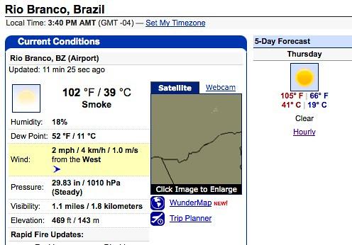 Rio Branco Weather - 19 Aug 2010