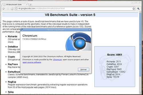 Score de v8 avec Chromium