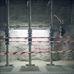 Alarmed (Alvaro's Pix) Tags: madrid 3 color 120 6x6 mediumformat three spain pipes tubes tunnel 120film hasselblad scanned tunel carrete urbex tuberias c41 grifos mittelformat epsonv700 formatomedio kodakektar100 hasselblad2000fcw carlzeissplanarf80mmt manualexif11f8