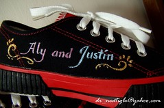 Aly and Justin (alcat2021) Tags: justin art shoes acrylic hand drawing painted made custom collectors item personalized fever bieber alcat2021 shoesjustin