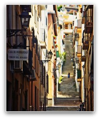 SOLA...... (nanettesol) Tags: test2 test3 street test woman stairs calle mujer spain loneliness steps upstairs granada balconies lamps farolas narrow lonelyness escalones balcones subiendo realejo empinada platinumphoto saariysqualitypictures