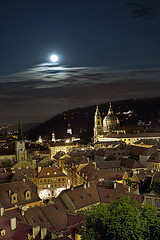 Prague - Czech Republic (DiGitALGoLD) Tags: old bridge moon 30 night square town nikon long exposure republic village shot czech prague tripod charles praha nikkor f28 gitzo seconds d3 republika 2470mm ceska 2470