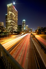 city of angels (Eric 5D Mark III) Tags: city longexposure bridge light color building vertical skyline night la vanishingpoint losangeles downtown 110 perspective freeway midnight 4thstreet interchange lighttrail lightstream ef14mmf28liiusm