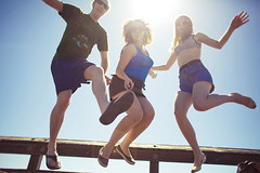 The Fun Department (jasfitz) Tags: california ca blue sky beach pier jump 50mm14 trio leap ventura wheeee sunflare selfie swimtrunks bathers lotsofair 5dmarkii kindofobscuringmyface