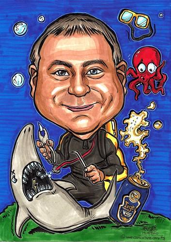 dentist caricature @ work underwater