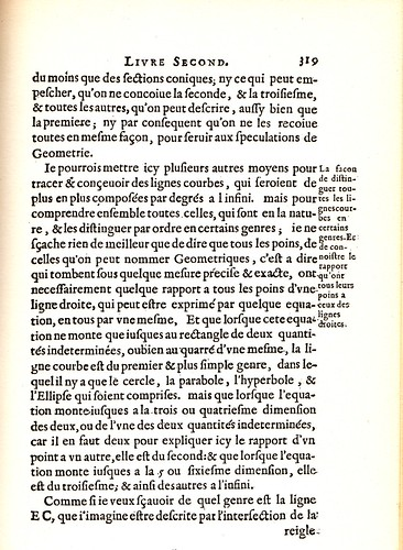 René Descartes, //La Géométrie,// book 2 page 319, Paris 1637. Roman font with archaic ligatures.