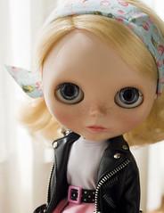 not really a rebel (JennWrenn) Tags: black leather doll blueeyes jacket blythe maizie saffyencore