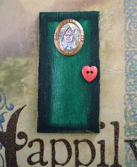 Miniature Queen of Hearts Magical Fantasy Portal (Enchanticals ~I'm Coming Back) Tags: miniature door portal fairydoor magical enchanted fantasy queenofhearts alice aliceinwonderland enchanticals enchanticalsetsy etsy portrait framedpicture frame heart hearts green sneer sneering children childrens childrensbook story lewiscarrol fairytale fairytales character pretend imagine queen royalty makebelieve foultempered badtempered redheart button doorknob black blackedging copper painted oneofakind handmade