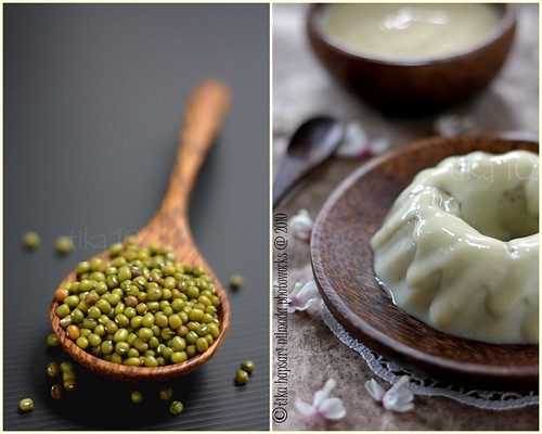 Mung bean pudding with cheddar cheese sauce