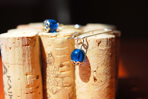blue grotto - sterling silver earrings with glass beads