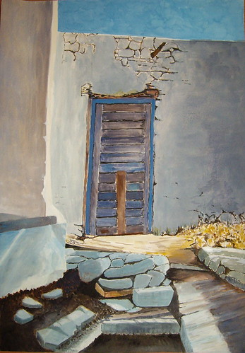 Old door on island of Leros, Greece