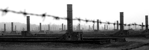 Chimneys, Auschwitz by flatworldsedge