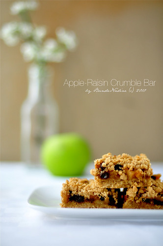 Apple-raisin crumble bar