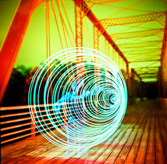 Light Tunnel Apparition (Lomo-Cam) Tags: longexposure xpro crossprocess yashicad lightdrawing fujiprovia400 moorescrossingbridge