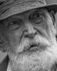 Old Man (Fouquier ) Tags: portrait blackandwhite bw white black topf25 senior face closeup beard mono eyes streetlife oldman moustache age wise wrinkles explored canonef85mmf12liiusm unaltraperlanera anotherblackpearl canoneos5dmkii