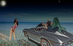 C2 Corvette at the Sea (redvette) Tags: ocean girls sea moon hot sexy water car photomanipulation photoshop silver reflections seaside women legs horizon bikini babes mermaid corvette c2 hdr pinups smrgsbord carsandgirls redvette tomhiltz flickrphotoaward corvettefever corvetteart corvetteposter