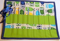 Scrappy quilted crochet hook roll (Sarah @ FairyFace Designs) Tags: ireland quilt crochet ribbon applique tutorial owls robertkaufmann crochethookroll annkelle urbanzoologie