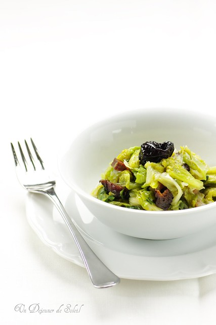 Escarole with bacon and plums